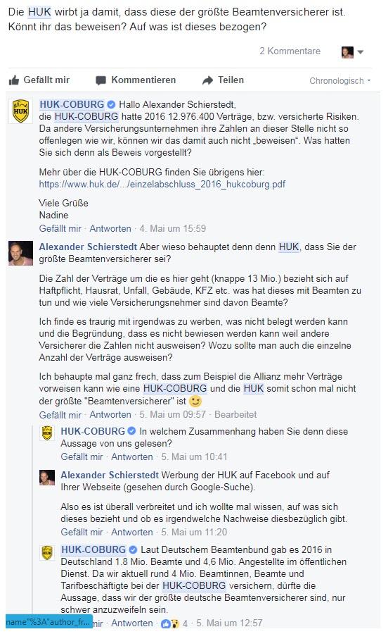 Chatverlauf Versicherungsmakler in Rostock - A. Schierstedt und HUK Coburg